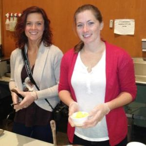Rebekah and Sarah serving breakfast at Morning Glory Cafe