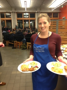 Serving dinner at Blanchet House