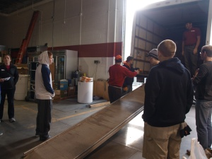 Waiting to unload the truck at Boise Rescue Mission