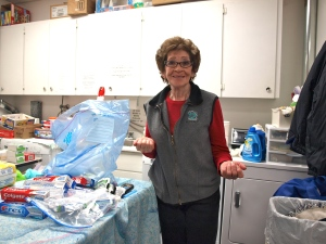 Theresa volunteers everyday to make sure that families get all the household supplies they need