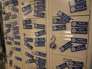 Locker with volunteer nametags