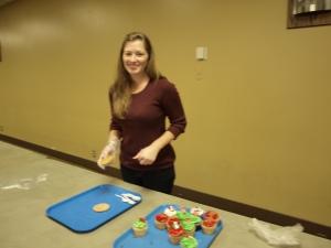 Sarah prepares dessert
